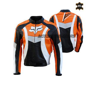 Men Orange motorbike jacket in cowhide leather with ce armours all sizes bargain
