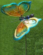 Garden Lawn Yard Decoration bird Blue Butterfly glass & metal pick stake NEW