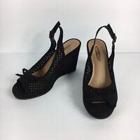 Seychelles Margarita Womens Black Wedge Peep Toe Slingback Shoes Size 6.5 M