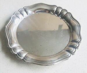 Rare Antique European solid silver card tray , Germany, early 20th hallmarked