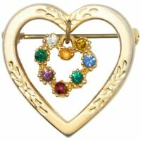 Double Heart Charm Dangling Crystal Pin Brooch in Gold, Mid 1900s