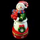 PORCELAIN SNOWMAN keepsake HINGED BOX / KURT S ADLER / CHRISTMAS BOX
