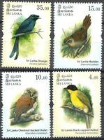 Sri Lanka 2017, Endemic Birds, Owlet, Bulbul, Drongo, Warbler, Stamp set MNH