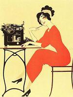 ADVERT TYPEWRITER WOMAN RED DRESS WRITING USA ART POSTER PRINT LV303