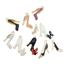 10PCS Enamel Plated Assorted High Heels Shoes Look Charms Pendant DIY Findings