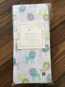NEW Pottery Barn Kids Organic Harper Lion Crib Fitted Sheet, Turquoise,lime.