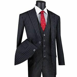 VINCI Men's Black Gangster Stripe 3 Piece 2 Button Classic Fit Suit NEW