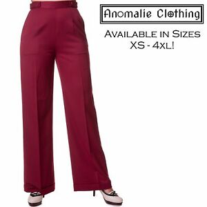 Banned Apparel Party On Wide Leg Trousers - Vintage 1950s Retro Rockabilly Pinup