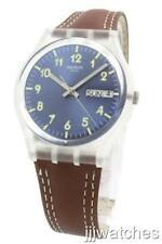 New Swiss Swatch Windy Dune Brown Leather Day Date Watch 34mm GE709 $60