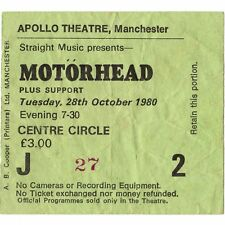 MOTORHEAD Concert Ticket Stub MANCHESTER UK 10/28/80 APOLLO ACE OF SPADES TOUR