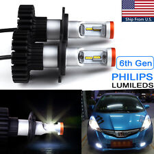 Pair 160W H4 High Power 6000K HID White Philips LED Conversion Kit For Headlight