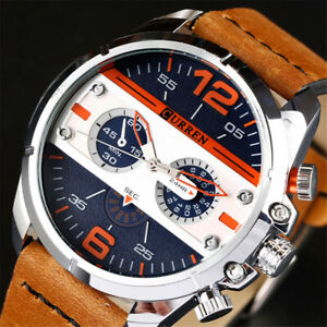 CURREN Men Watch Casual Leather Bracelet Wristwatch Large Dial Male Watches Gift