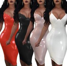 Womens Nightdress PVC Wet Look Vinyl Leather Bodycon Ladies Clubwear Mini Dress