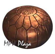 MPW Plaza Pouf, Bronze, Moroccan Leather Ottoman (Stuffed)