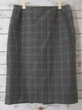 TALBOTS Womens 10 Gray Plaid 100% Wool Skirt Back Pleated Made in Japan Career