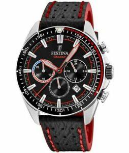 New Festina Men's Chronograph Leather Strap Watch F20377/6