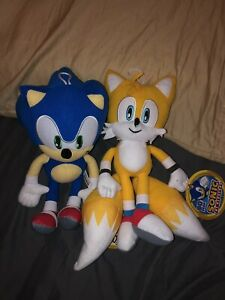 """New 11""""-12"""" Set Of 2 Blue Sonic And Tails Sonic The Hedgehog Soft Plush Toy"""