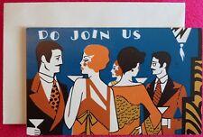 Vintage Cocktail Party Invitation Card UNUSED MCM Art Deco Lady Dress Man Suit