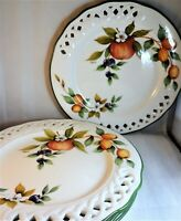 "Brunelli Tiffany Dinner Plates (Set of 4) Italy Lattice 10 1/2"" Flowers & Fruit"