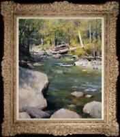 Hand-painted Original Oil painting art Landscape Impressionism Brook on canvas