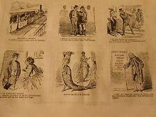 Vignettes 19èm Robe de bal dite à la Alphonse sirène Mermaid Caricature