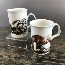 Roy Kirkham Pair Of Shire Horse Fine Bone England Cup Mug Vintage