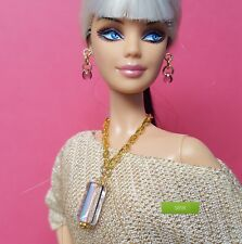 S898 Doll Jewelry For Silkstone Barbie Fashion Royalty Striped Cane Glass purple
