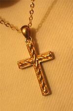 Petite Raised Twist Center Goldtone Cross Pendant Necklace +