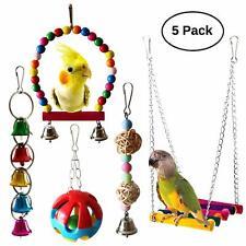 5pcs Bird Parrot Toys Hanging Bell Pet Bird Cage Hammock Swing Hanging toys