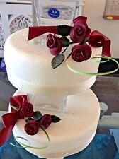 WEDDING CAKE SUGAR FLOWER ROSES SPRAYS X TWO IN DARK RED , In MORE COLOURS Da