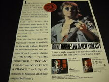 JOHN LENNON from Beatles IT WAS AN HISTORIC OCCASION.... 1986 Promo Poster Ad