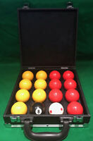 """REDS AND YELLOWS POOL BALLS 2"""",1 7/8 SPOTTED WHITE BALL & CARRY CASE"""