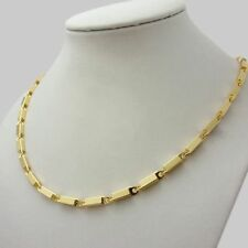 56cm 18K Gold Filled Stoneless Block Chain Necklace & Gift Box Men Birthday Gift