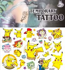 POKEMON Go Pikachu Game Characters Cartoon Nintendo Anime Temporary Tattoo  #087