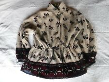 Cabelas Womens Size Large Fleece JAcket Button Front Floral Pattern Pre Owned