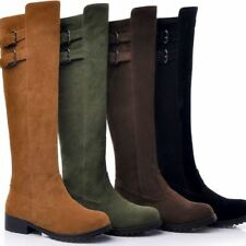 Vintage Women Casual Low Heel Knee High Boots Buckle Knight Pull On Riding Shoes