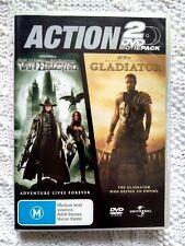 VAN HELSING / GLADIATOR - 2 DVD MOVIE PACK, R: 2+4, LIKE NEW, FREE POST AUS-WIDE
