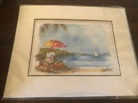 """Matted Water Color Print """"Fruit Seller By Bay"""" Mouche Aquarelliste Watercolorist"""