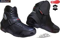 REAL LEATHER MENS SMART MOTORBIKE MOTORCYCLE RACING SHORT SPORTS SHOES BOOTS