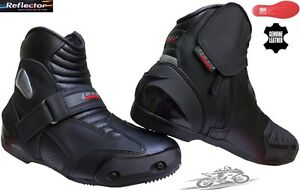 REAL LEATHER MENS SMART MOTORBIKE MOTORCYCLE RACING SHORT SPORTS SHOES / BOOTS