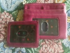 Fuchsia PURPLE Leather SET 2-piece ID credit card MONEY coin CASE HOLDER * NWOT