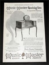 1925 OLD MAGAZINE PRINT AD, MUSIC MASTER RECEIVING SETS, A LOGICAL DEVELOPMENT!