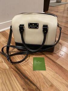 Kate Spade Tan And Black Leather Satchel Crossbody Handbag Purse