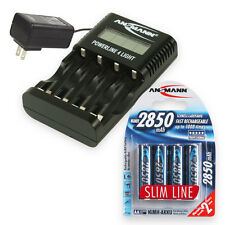 ANSMANN Powerline 4 Light Battery Charger + 4x 2850mAh Rechargeable AA Batteries