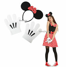 Disney Minnie Mouse Headband with Ears & plush white gloves Cosplay Costume Kit