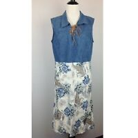 Expressions Dress Womens Large Paisley Floral Denim