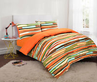 Wave Stripe Reversible Duvet Set Cotton Blend Quilt Cover Gift Bed Linen Orange