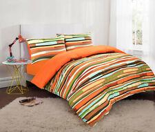 Wave Stripe Reversible Duvet Set Cotton Blend Quilt Cover Gift Bed Linen Orange