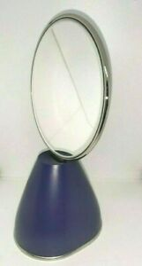 """Vintage Shiseido Round Mirrow with Base Blue 4.25 x 8.5"""" Dresser/Office/Bedroom"""