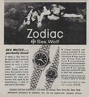 1964 Zodiac Sea Wolf Men's Women's Watch Scuba Diver Snorkel Original Print Ad